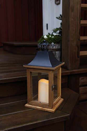 Romántico decorativa XL - LED Linterna con puerta - de madera, vidrio y metal - acabados - tamaño: 35 cm x 18 cm - en marrón/negro - con LED - vela natural - con temporizador - para interior y