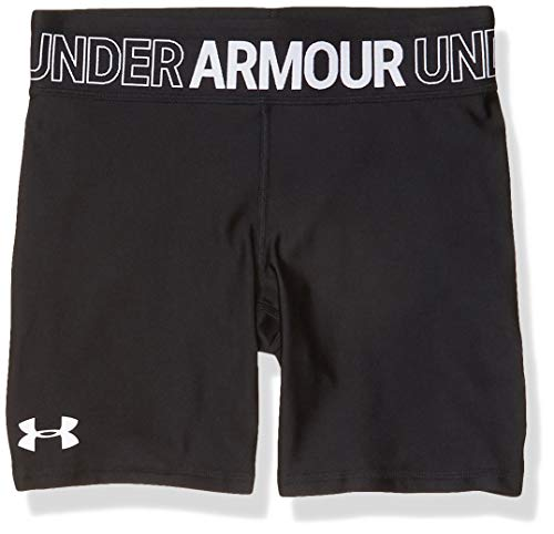 Under Armour Girls' Armour HeatGear Bike Shorts , Black (001)/White , Youth Small