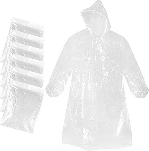 Disposable Poncho Men and Women Plastic Transparent Rain Gear, Hooded Transparent Plastic Waterproof Poncho Individually Packaged (10 Pieces)-Ideal for Disney Hiking Concerts and Camping.