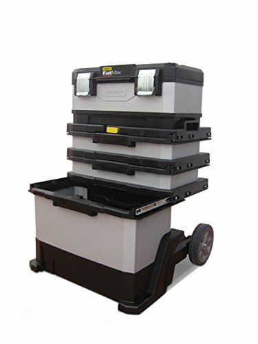 Stanley FatMax Rollende Werkstatt aus Metall-Kunststoff 1-95-622 – Werkzeugwagen leer – Vielseitige Werkzeugbox für Kleinteile und große Werkzeuge - 5