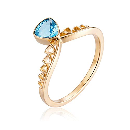AueDsa Anillo Oro Anillos Oro 18K Mujer Corona Triángulo Aguamarina Azul 0.8ct Anillo Talla 17