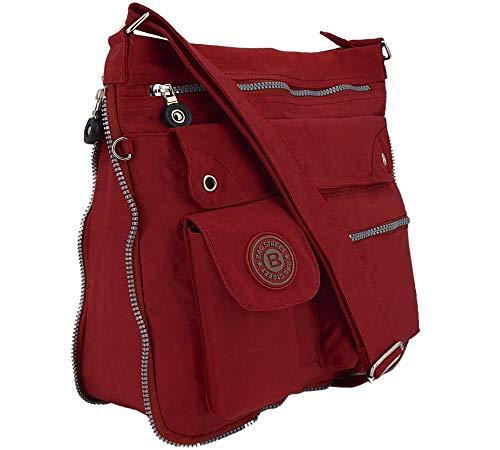 ekavale - leichte Damen-Umhängetasche - Praktische Crossbody-Handtasche - mit vielen fächern - Schultertasche | wasserabweisende Damentasche (Rot)