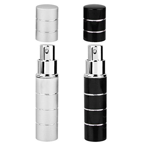 D DOLITY Paquet De 2 Mini 10ml En Alliage D'aluminium Rechargeable Vide Atomiseur Conteneurs Parfum Spray Bouteilles Argent Et Noir