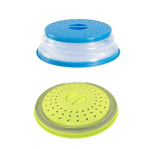 2 Piezas Tapa Microondas, Tapa Plegable Para Microondas, Tapa de Microondas para Tamizar Agua, Adecuado para Horno Microondas, Evita que los Alimentos se Sequen (Dos Colores)