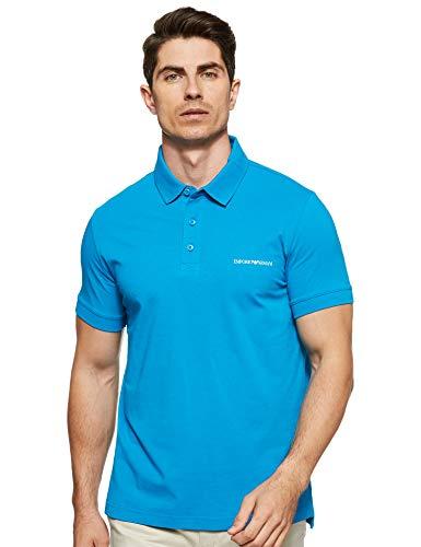 Emporio Armani Swimwear Herren S/Sleeve Beachwear Jersey Polo Poloshirt, Blau (Cerulean 17432), Small (Herstellergröße: S)
