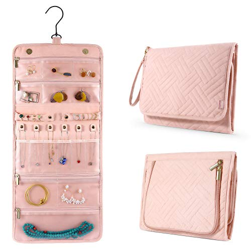 IPOW Travel Jewelry Organizer Roll for Necklace Earrings Bracelets Rings Brooches Foldable Portable Travel Jewelry Case for Women Girlfriend Wife Mom Roomy Compact No Tangle Hanging Jewelry Holders