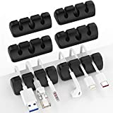 Yocice Cable Clips 6PCS Wall Wire Holder, Desk Desktop Cord Management, Charging USB Cable Organizer, Black- DM03