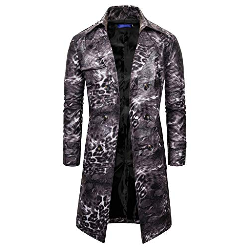 Mens Trench Coat Slim Fit Double Breasted Overcoat,Jchen Men's Leather Vintage Steam Punk Gothic Retro Leopard Print Coat Long Windbreaker Jacket Best Valentine Gifts