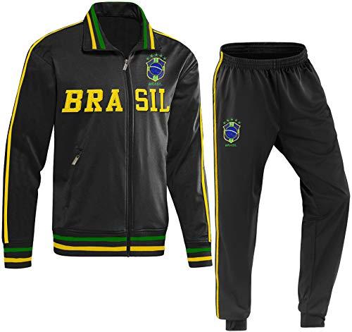 Blackshirt Company Brasilien Kinder Trainingsanzug Fußball Fan Zweiteiler Schwarz Größe 104