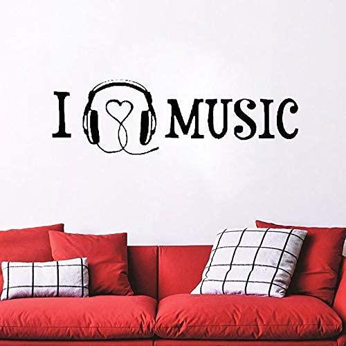 Arte De Pared De Vinilo Musical, Decoración Del Hogar, Mural De Pared De Melodía, Citas Y Refranes I Love Music Wall Decal By Style & Amp; Amp;Aplicar 112 * 32Cm
