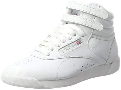Reebok Freestyle Hi, Zapatillas de Gimnasia, Blanco (White/Silver), 34.5 EU
