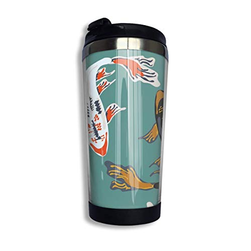 MQJJ Japanese Koi Carp Art with Cup Cover Double Layer Stainless Steel Cup Suitable for Hot and Cold Drinks