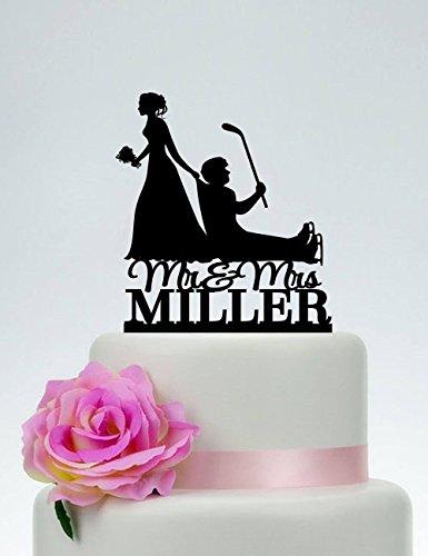 Queen54ferna Tortenaufsatz für Hochzeiten, Hockeyschläger, Kuchen-Dekoration mit Hockeyschläger-Motiv, für Braut und Bräutigam