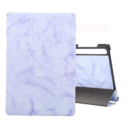 myEstore Tablet Cases Great For Galaxy Tab S6 10.5 T860 Marble Texture Pattern Horizontal Flip Leather Case, with Three-folding Holder & Sleep/Wake-up Function(Black Grey) (Color : Purple)