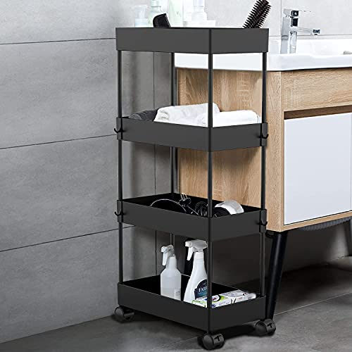 AOJIA Bathroom Storage Cart, 4 Tier Slide Out Storage Cart Bathroom Cart Organizer Black Mobile Shelving Unit Organizer with Wheels for Bathroom Kitchen Bedroom Laundry Narrow Places
