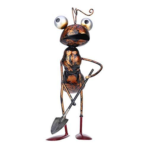 Runsmooth Metall Ameise Gartendeko Ornament, Ameise Skulptur Figur Garten Figur Deko Geschenk, Tier Gartenfigur für andere Hof und Balkon Dekoration, Ameise mit Schubkarre