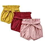 Bestime Toddler Girls' Solid Color Bowknot 3-Pack Cotton Shorts Bloomers