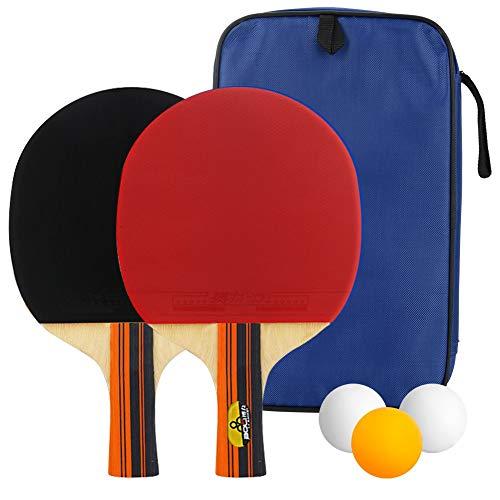 welltop Tischtennis Set 4 Tischtennisschläger/Schläger + 3 Bälle, Ping Pong Set mit Tasche Spiel für Anfänger, Familien und Profis