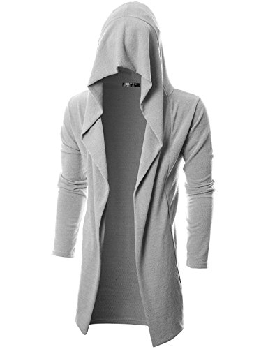 GIVON Mens Long Sleeve Draped Lightweight Open Front Longline Hooded Cardigan/DCC055-GREY-L