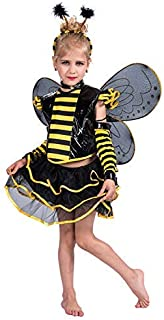 Kids Girls' Honeybee Costume Animal Fancy Dress Outfit with Wings Yellow Fairy Dress Sets Medium