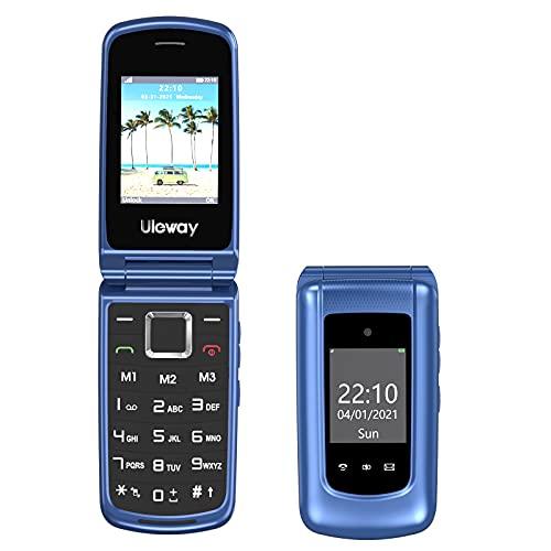 Uleway Teléfono Móvil para Personas Mayores, Teléfono Móvil con Teclas Grandes Doble Pantalla de 2,4 y 1,77 Pulgadas, Móvil con Tapa Botón de Emergencia SOS Doble SIM Radio FM Linterna - Azul