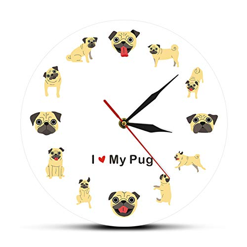 ROMK Reloj de Pared Decoración Amo a mi Perro Pug Silueta icónica Perro Adorable Reloj de Pared...