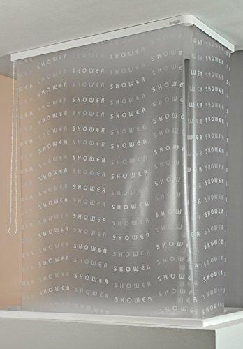 ECO-DuR 4024879002886 Kassetten ECK Duschrollo 137 x 62 cm silber - Shower weiß