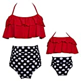PURFEEL Mother and Daughter Swimwear Family Matching Swimsuit Girls Swimwear Red+Polka Dot Medium/Adult
