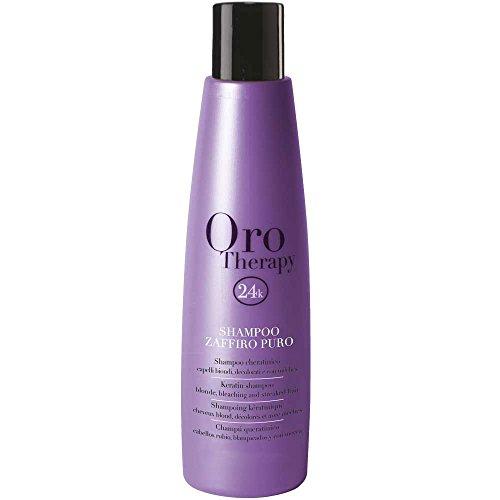 Zaffiro Puro Keratin Shampoo for Blonde, Bleached and Streaked Hair 1000ml Oro Therapy ® cheratinico per capelli biondi, decolorati e con méches
