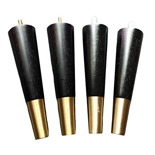 Yuany 4X Massivholzmöbelbeine, Messingfuß-Sofabeine, Eichentischbeine, Bettfüße, Couchtischbein, M8-Schraubstange, für Küchenschrank-Schlafsofastuhl, mit Hardware-Teilen, schwarz (12 cm)