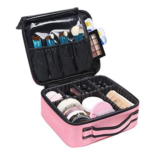 HOSEN Travel MakeUp Bag Organizer Makeup Train Case PINK