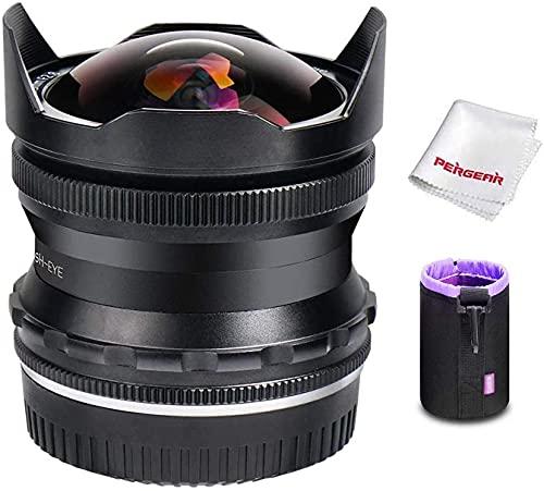 PERGEAR 7,5 mm F2,8 Fish Eye Fisheye-Objektiv Manueller Fokus für Fuji X-Mount-Kameras Fuji X-T1 X-T2 X-T3 X-T4 X-T20 X-T30 X-Pro2 X-Pro3 X-E1 X- E2 E-E2s X-E3 (schwarz)