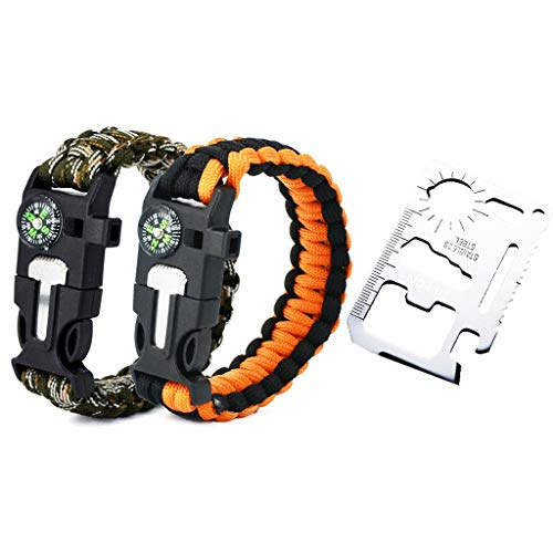 HEECN Multi-Purpose Pocket Survival Tool Card und Survival Bracelet Set (Orange + Tarnung)