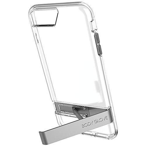 Body Glove Elevate Case for iPhone 8 Plus, iPhone 7 Plus, iPhone 6s Plus, and iPhone 6 Plus - Clear w/ Gray Metal Kickstand - 9625101