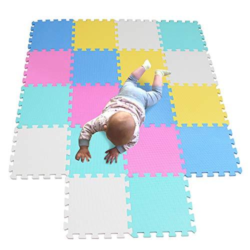 MQIAOHAM schuimmatten voor kinderen sensorische vloer kinderen peuter puzzel gym mat uitrusting thuis oefening voor puzzels spelen speelgoed veilig water fitness wit oranje roze geel blauw 5color2