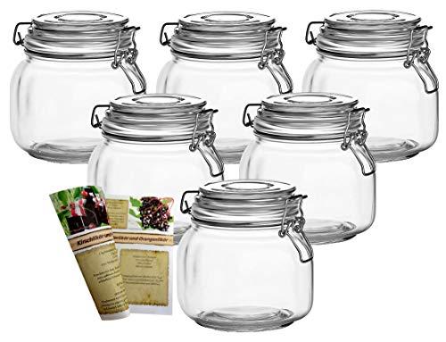 gouveo 6er Set Bügelgläser 750 ml Quadrat Flach incl. 28-seitige Flaschendiscount-Rezeptbroschüre Vorratsgläser mit Bügelverschluss