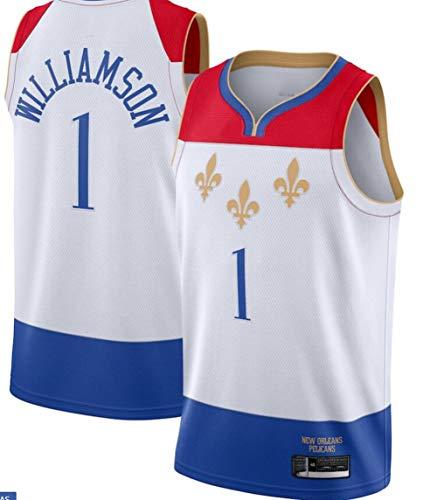 TGSCX Camiseta de baloncesto para hombre, de la NBA New Orleans Pelicans 1# Zion Williamson cómoda/ligera/transpirable bordada de malla Swingman Retro, L