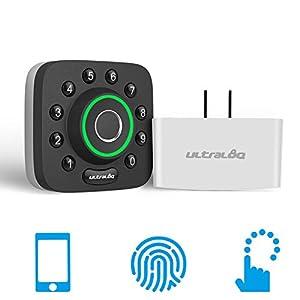 U-Bolt Pro Bluetooth Enabled Fingerprint and Keypad Smart Deadbolt + Bridge WiFi Adaptor   6-in-1 Keyless Entry   Control Remotely Via Smartphone   Fingerprint ID   Anti-peep Code   Auto Unlock & Lock