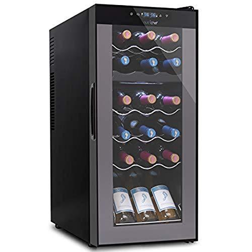 18 Bottle Wine Cooler Refrigerator - White Red Wine Fridge Chiller Countertop Wine Cooler, Freestanding Compact Mini Wine Fridge 18 Bot w/Digital Control, Invisible Door Hinge - NutriChef PKCWCDS188