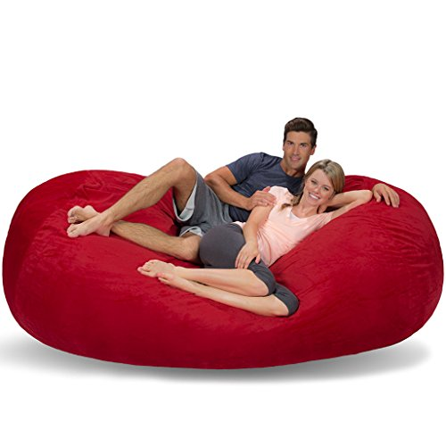 Comfy Sacks 7.5 ft Lounger Memory Foam Bean Bag Chair, Red Furry