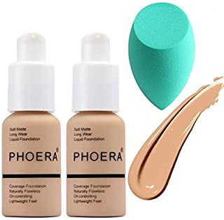 2PCS Phoera Foundation, 30ml 102# 104# Makeup Concealer Foundation Cream, Long Lasting Waterproof Matte Liquid Foundation ...