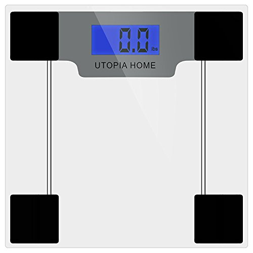 Utopia Kitchen Utopia Home Clear Digital Bathroom Scale with Thick Tempered Glass, Blue