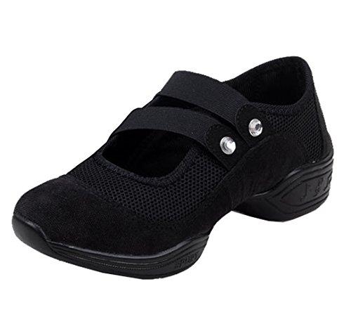 Dayiss® Mädchen Damen Modern Tanzschuhe jazzdance schuhe Tanz Sneaker Websneaker weichen Sohle Sport Schuhe Fitness Schuhe Halbschuhe Freizeitschuhe Turnschuh luftdurchlässig (38-Fußlänge 240mm, Schwarz)