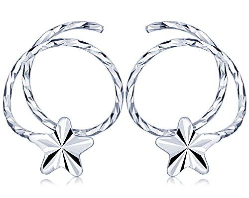 Yumilok 925 Sterling Silber Stern Helix Spirale Piercing Ohrstecker Ohrringe Hypoallergen Ohrschmuck für Damen Mädchen