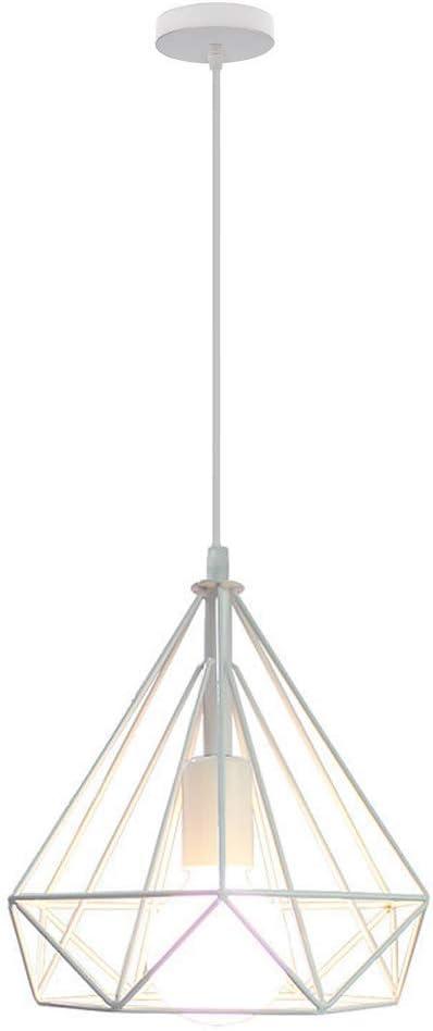 STOEX Lámpara de techo jaula de hierro con forma de diamante, 25 cm, lámpara colgante vintage E27 iluminación para decoración de salón restaurante dormitorio
