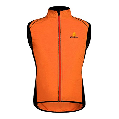 Gilet Da Ciclismo Da Corsa Di Sicurezza Ad Alta Visibilità - Antivento E Riflettente - Giacca Da Donna Senza Maniche Con Cerniera Sportiva Da Donna - - Arancia, XL