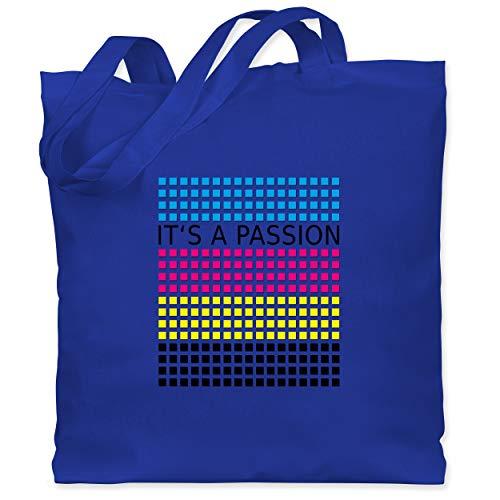 Shirtracer Nerds & Geeks - It's a passion - CMYK - Unisize - Royalblau - Drucker - WM101 - Stoffbeutel aus Baumwolle Jutebeutel lange Henkel