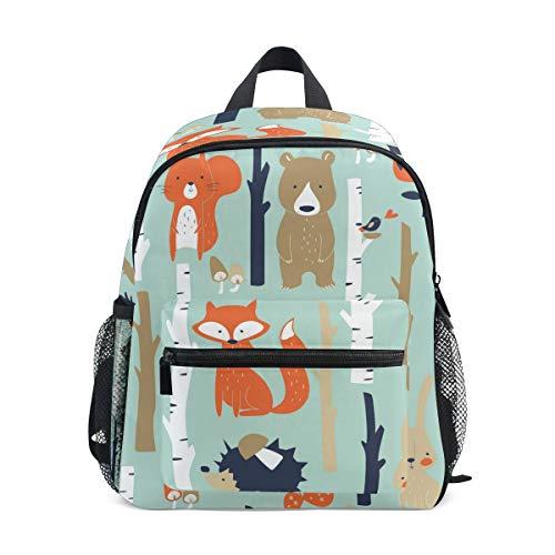 QMIN Mochila infantil con diseño de oso de zorro y conejo, para niños pequeños en edad preescolar, bolsa de hombro de viaje, para guardería, escuela, para niñas y niños