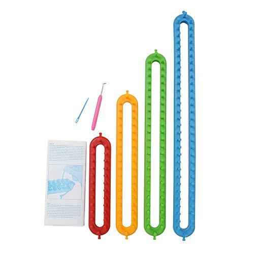 Luopei Schal-Strickmaschinen-Set, 6-teiliges Strickset, 4 Strickrahmen 56/45/35/24 cm, Weberei-Zubehör-Set mit 1 Looming-Haken + 1 Nadel für Schal, Schal, Schal, Decken, Pullover, Stricker