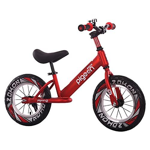 Bicicleta Equilibrio Bicicleta de Equilibrio Grande de 16 Pulgadas para Niños Grandes de 2 a 9 Años, Bicicleta Roja de Entrenamiento Sin Pedales con Reposapiés, con Manillar/Asiento Ajustable, para